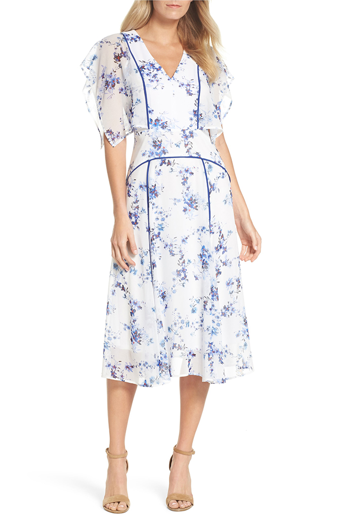 chelsea 28 floral flutter sleeve dress