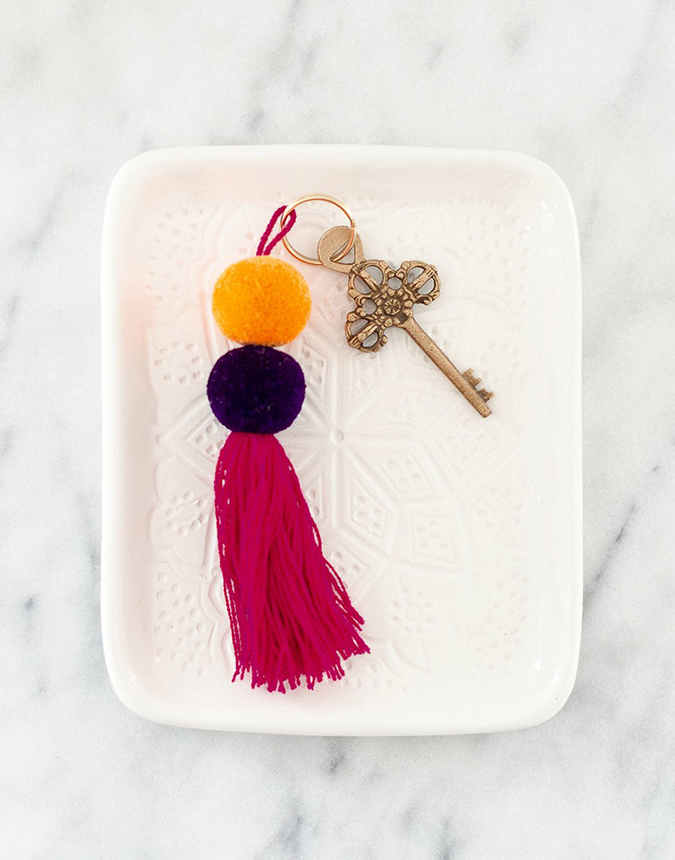 the little market double pom pom keychain
