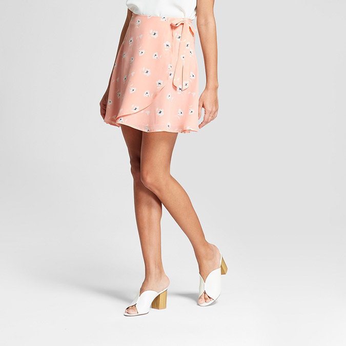 eclair pink floral mini skirt