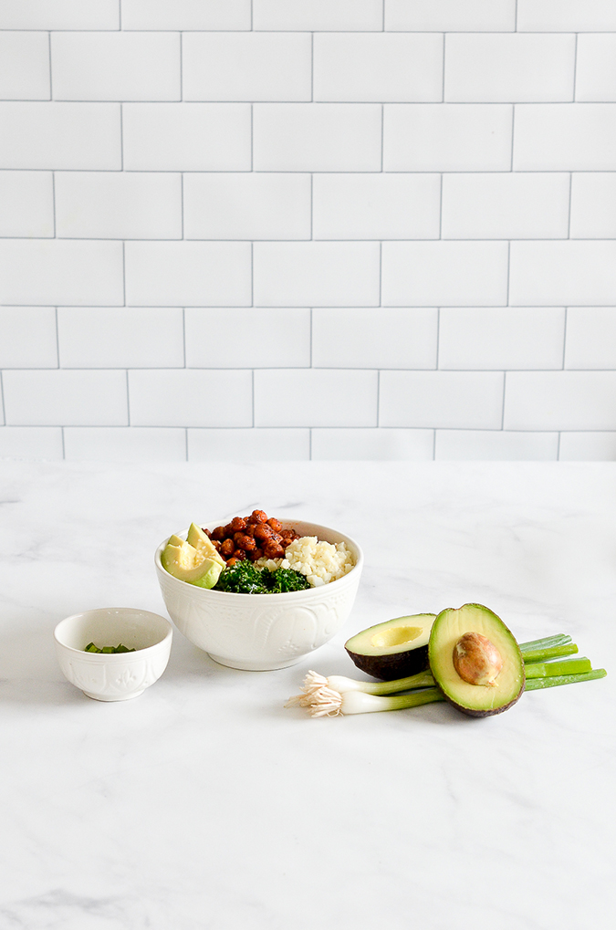 harissa chickpea bowl recipe via laurenconrad.com