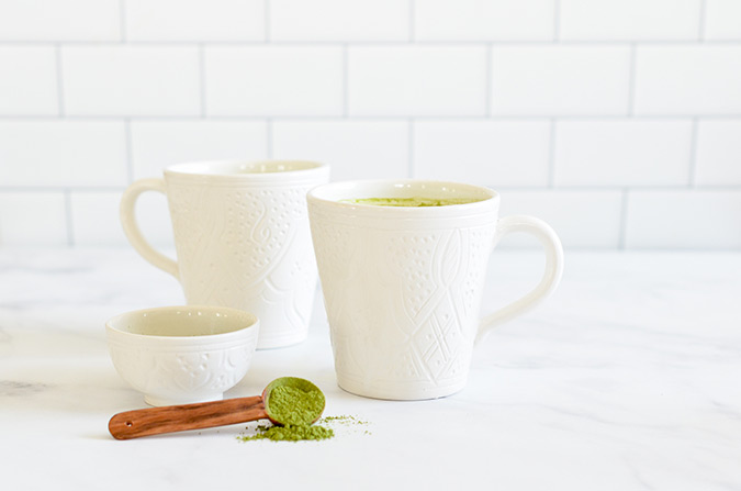 matcha latte recipe via be well by kelly