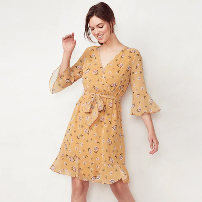 LC Lauren Conrad floral faux-wrap dress