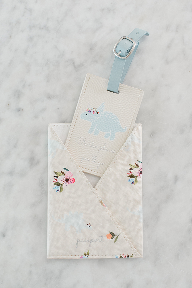 LC Lauren Conrad dinosaur floral passport case and luggage tag