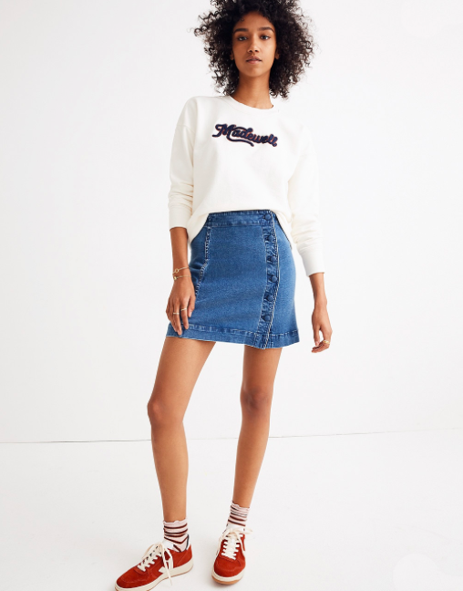 madewell stretch denim skirt