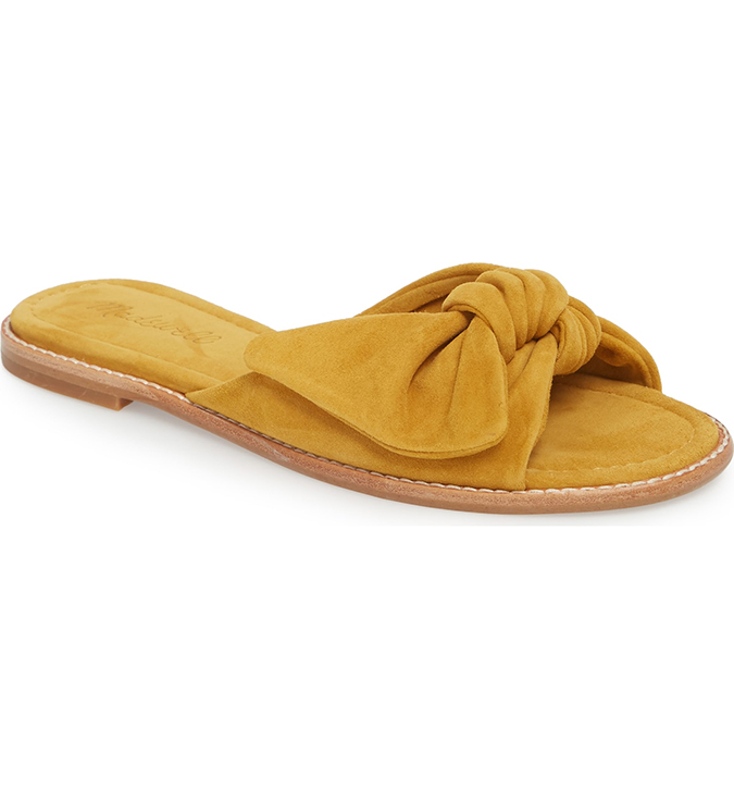 madewell yellow suede slide sandals