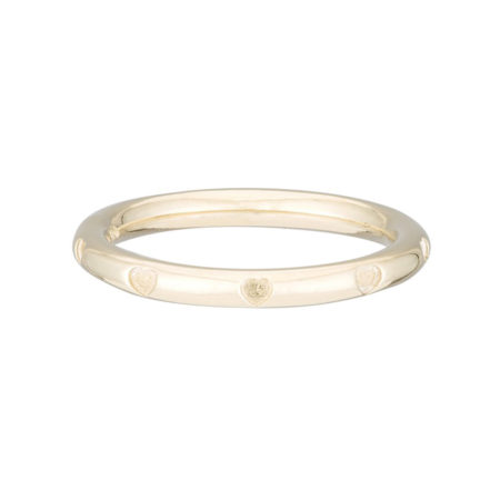 AGJ etched yellow gold heart ring