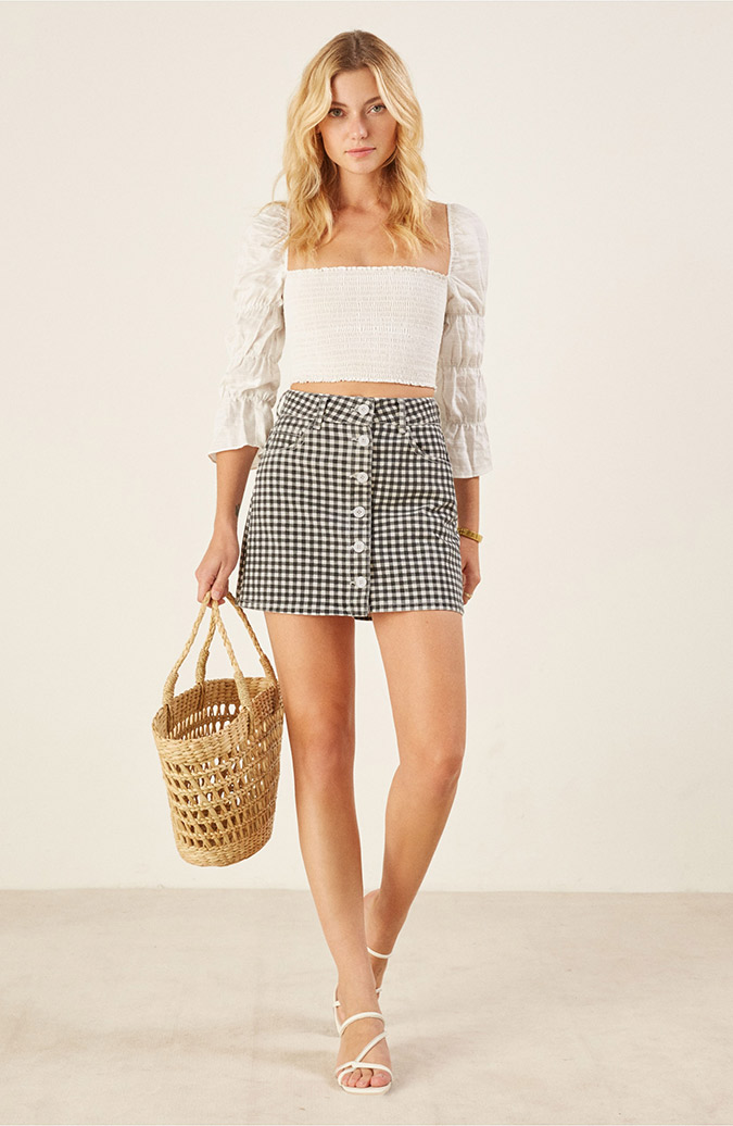 reformation mini skirt