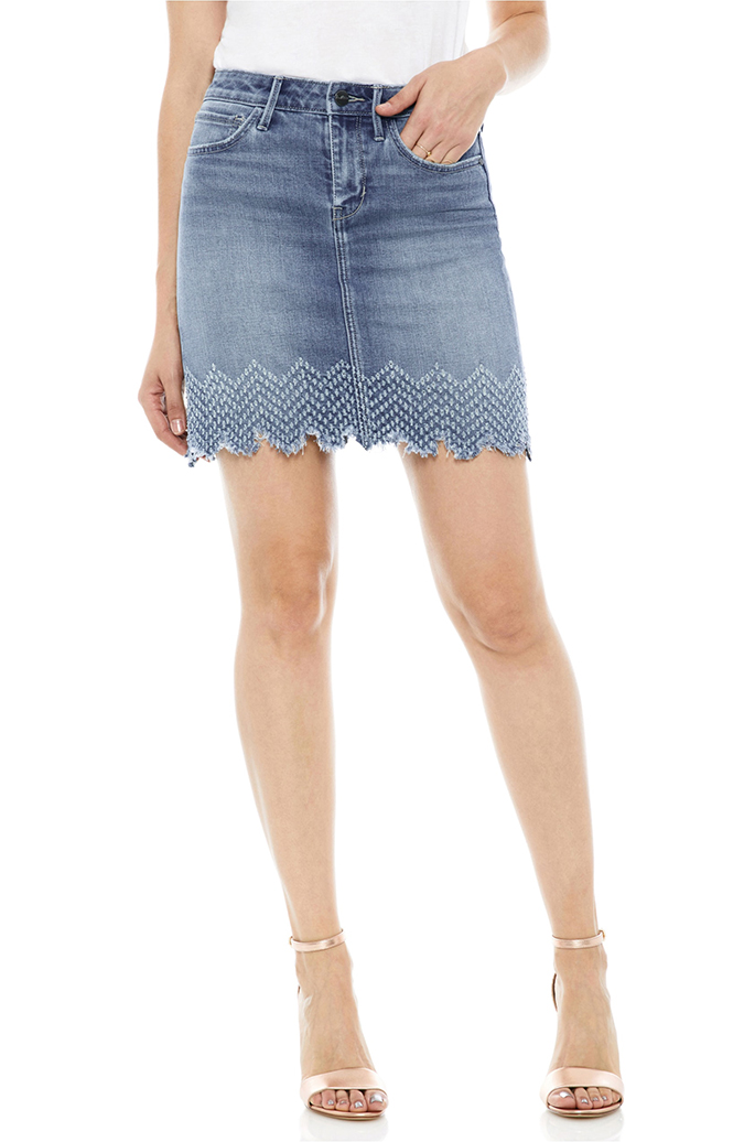 Sam Edelman The Jenny Laser Hem Denim Miniskirt