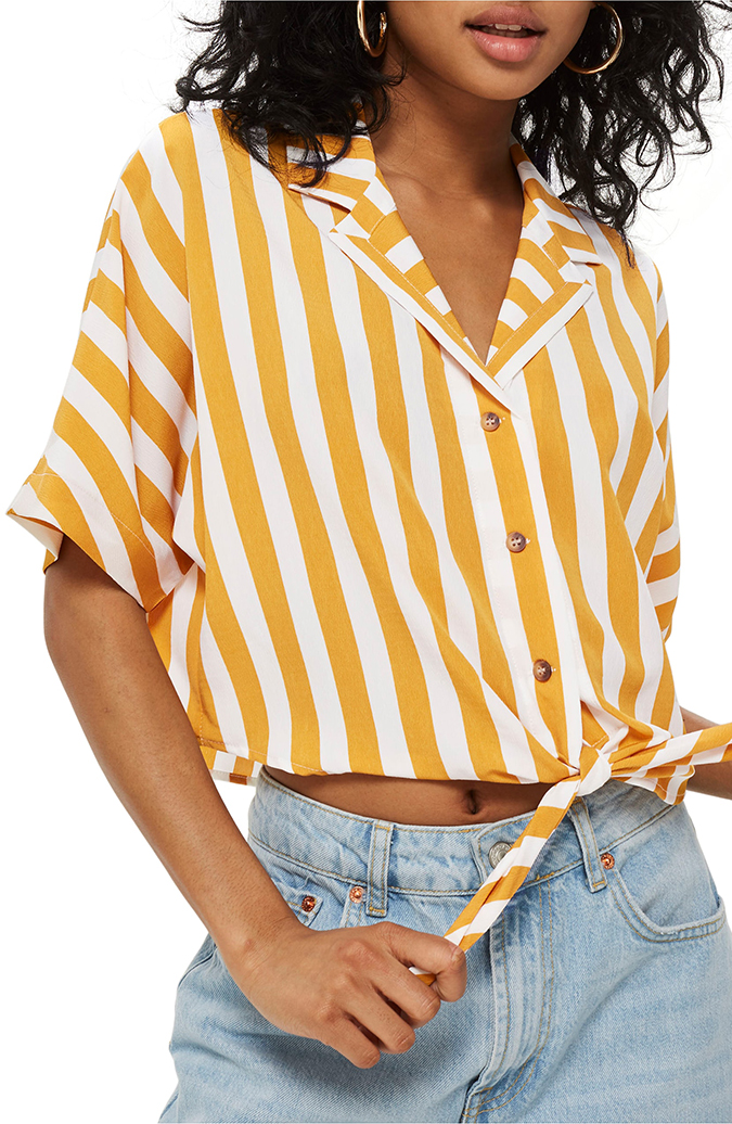 topshop striped cropped collar shirt