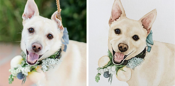 custom pup watercolor paintings by alexzandra marie art
