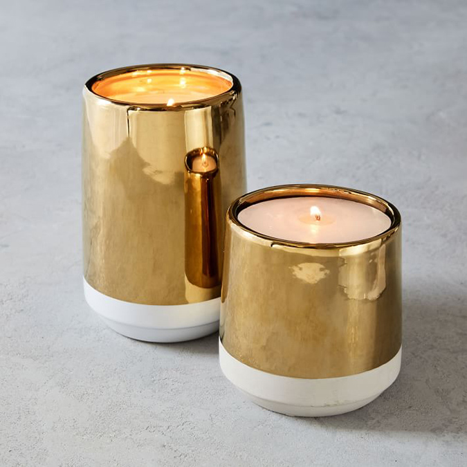 West Elm white and gold candle