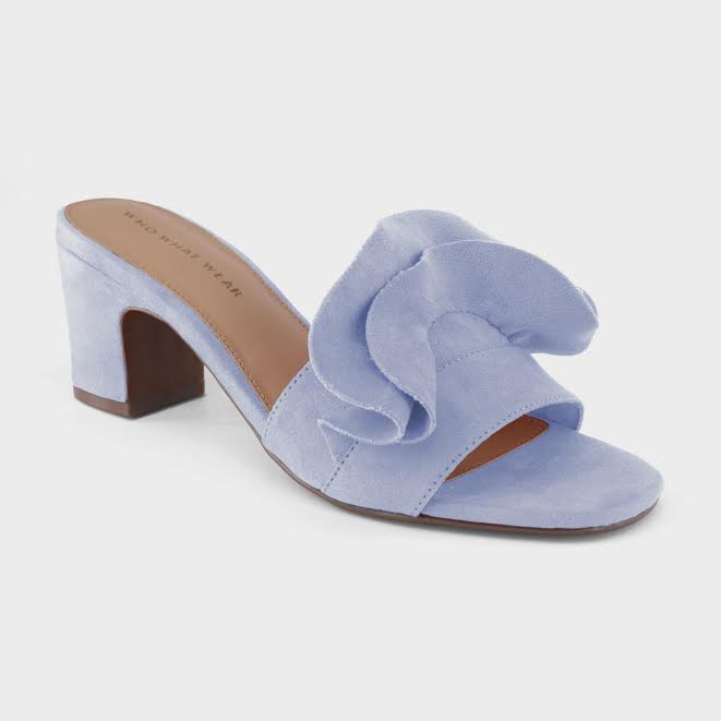 who what wear ruffle heel slides