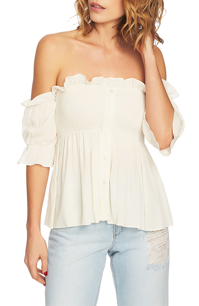 off the shoulder smocked top