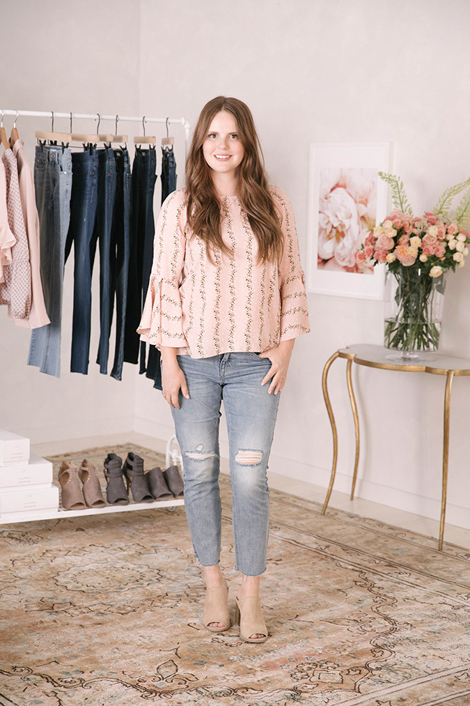 Claire Thomas of The Kitchy Kitchen wearing the new LC Lauren Conrad Denim Collection for Kohl's