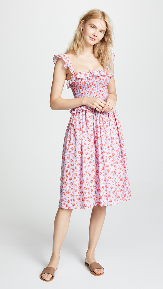 amanda uprichard smocked midi dress