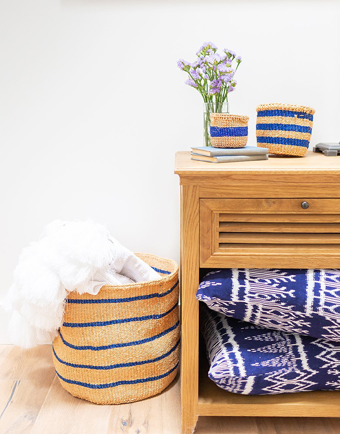 the little market sisal baskets in blue