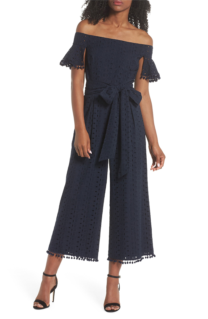 chelsea28 off the shoulder eyelet pom jumpsuit