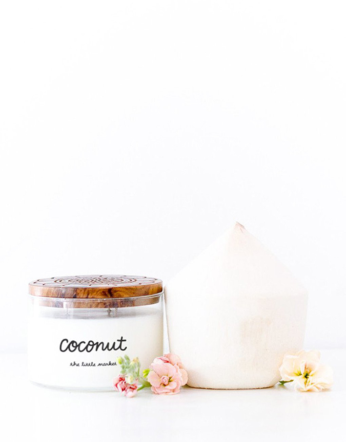 coconut scented candle from the little market