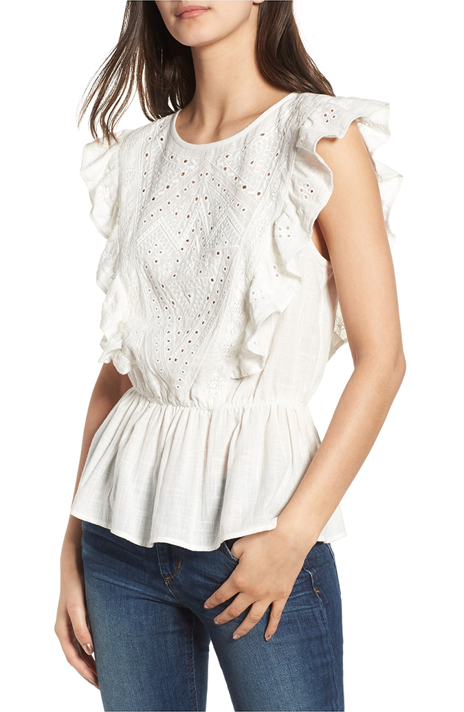 hinge ruffle cotton eyelet top