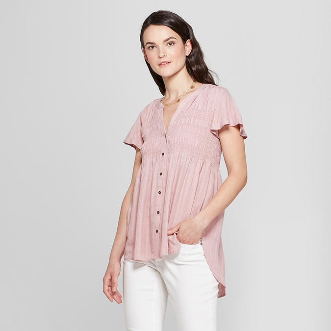 knox rose short sleeve smocked shirt