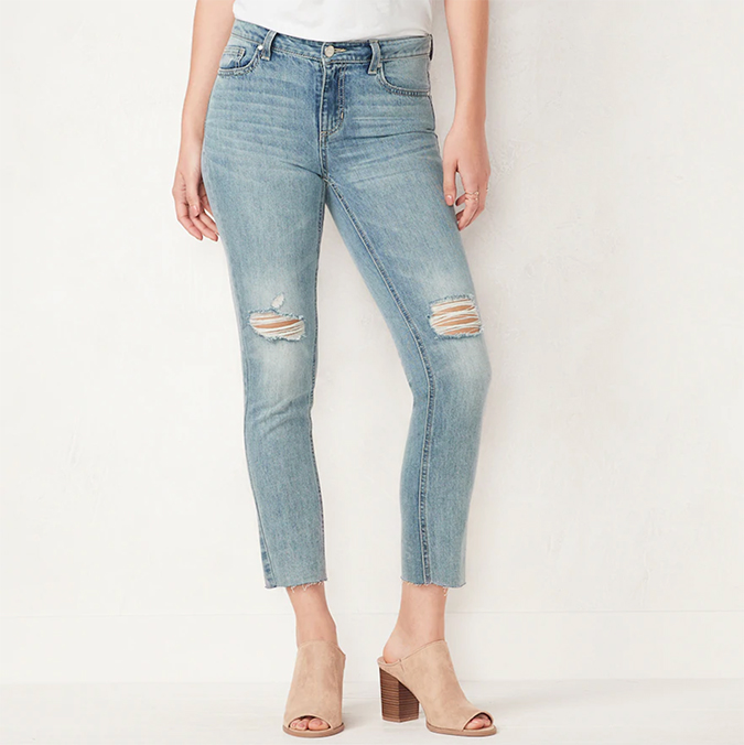 LC Lauren Conrad cropped distressed denim