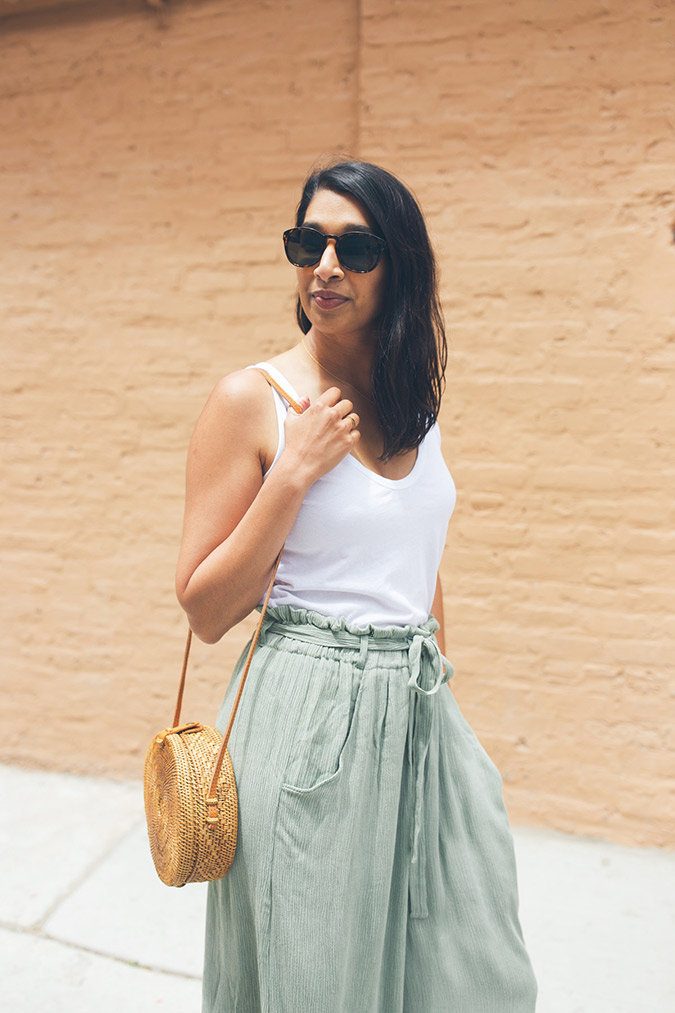 paper bag waistline pants for fall