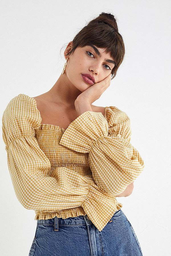 UO gingham cinched sleeve blouse