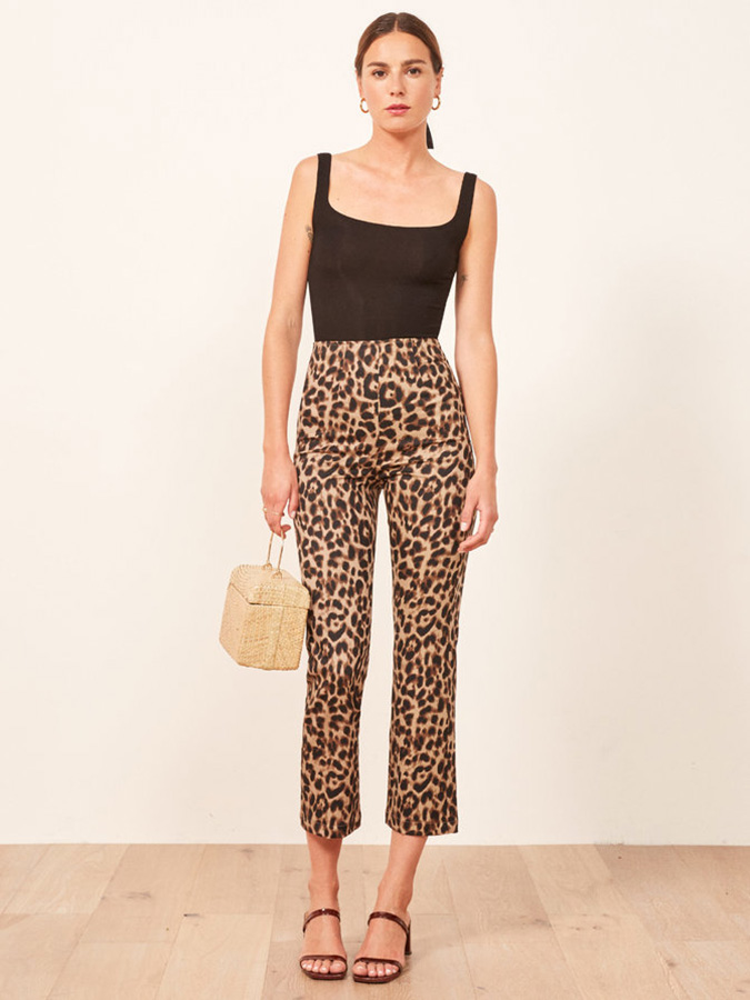 Reformation leopard cropped pants