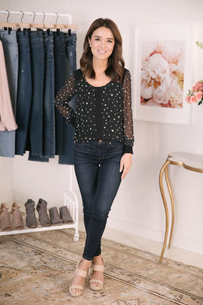 Floral off the shoulder top + skinny jeans: outfit idea