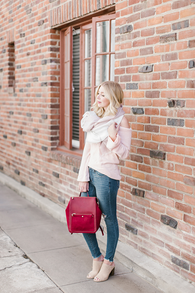 styling tips for off-the-shoulder sweaters via laurenconrad.com