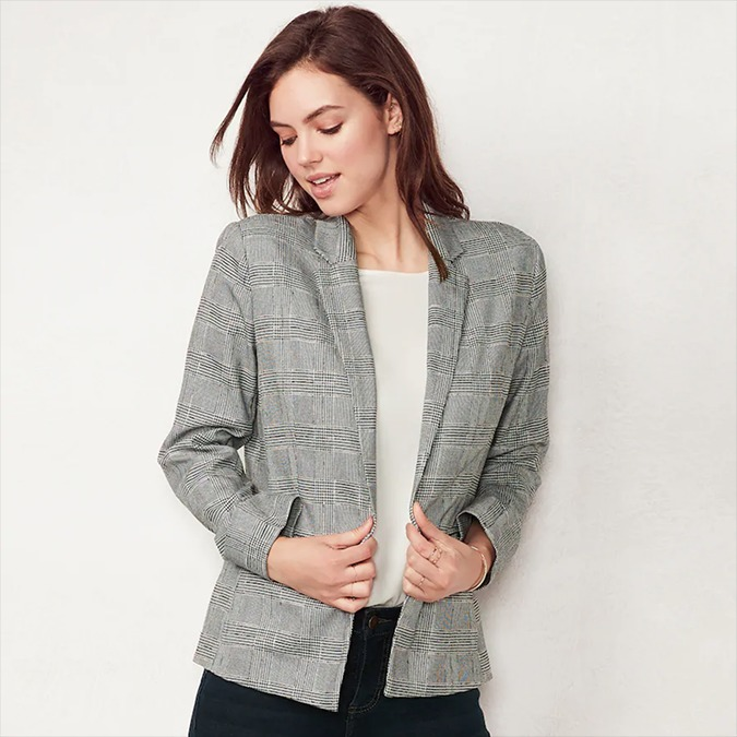 LC Lauren Conrad relaxed plaid blazer