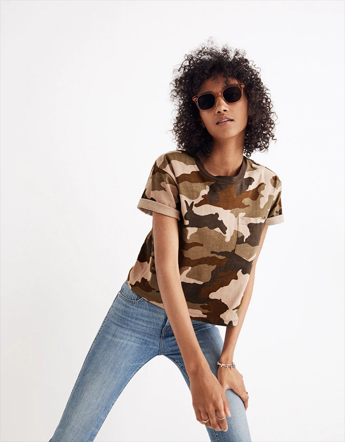 madewell easy crop tee in bunny camo