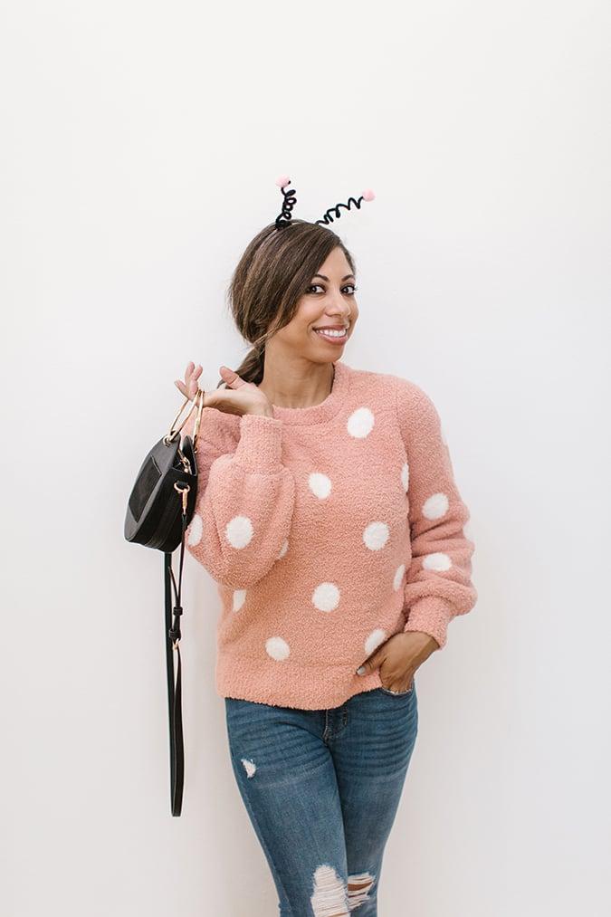 last minute pink lady bug costume via laurenconrad.com
