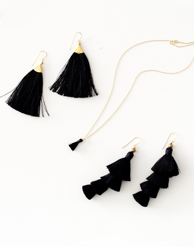 black tassel earrings from The Little Market