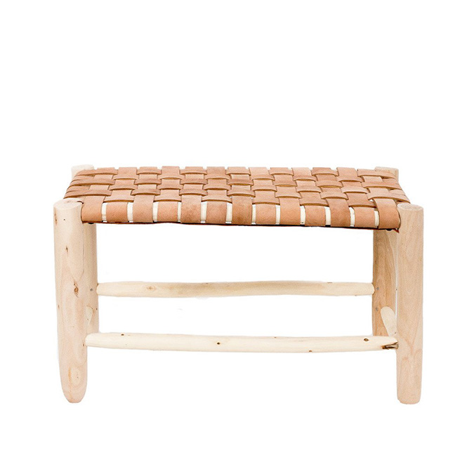 the little market moroccan leather bench