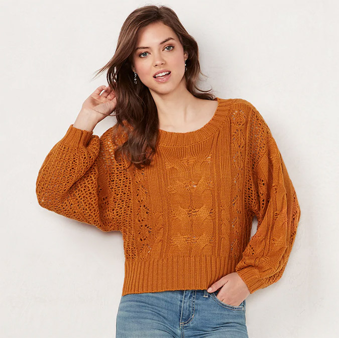 LC Lauren Conrad cable knit sweater
