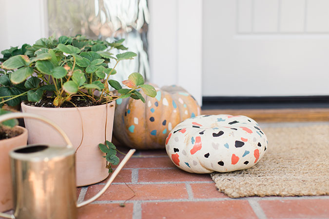 DIY terrazzo painted pumpkins via laurenconrad.com