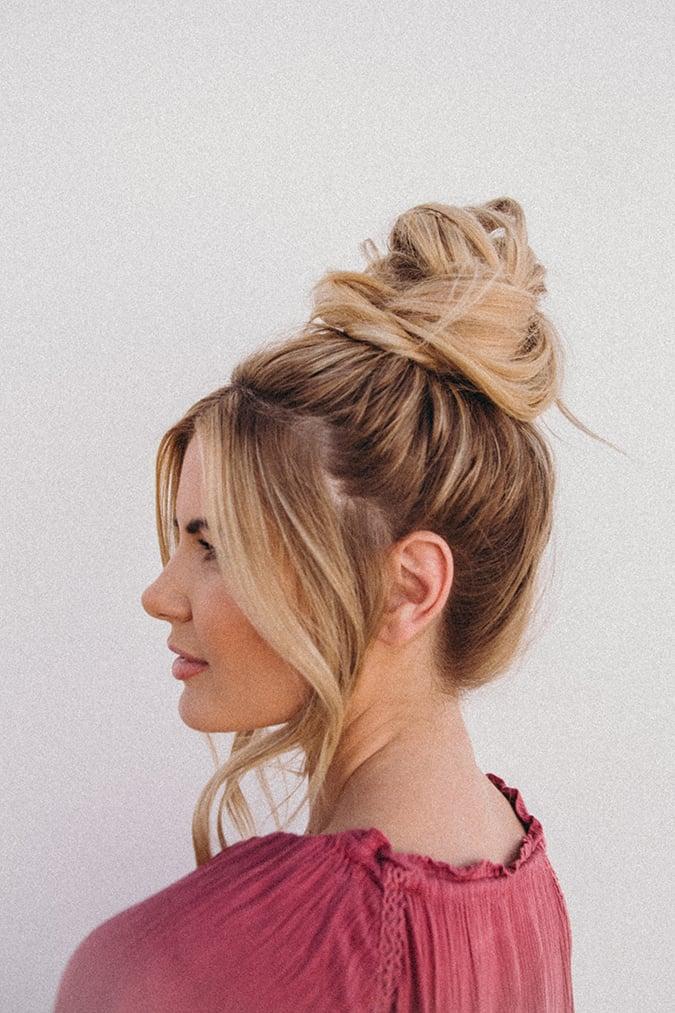 barefoot blonde top knot tutorial via laurenconrad.com