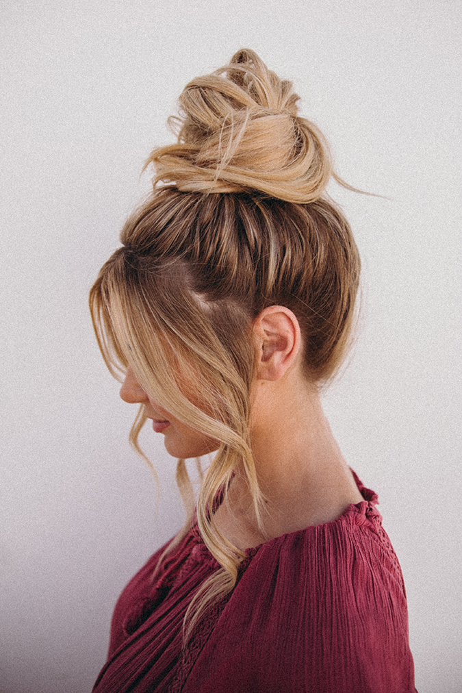 Hair How To An Effortless Top Knot Tutorial From Amber