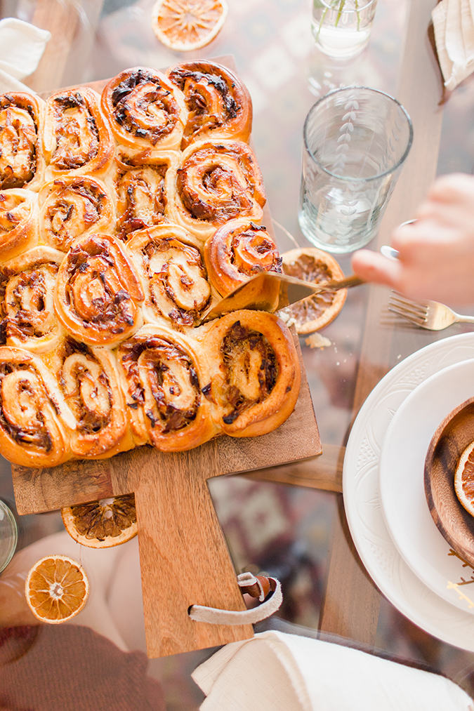 savory cinnamon swirls with bacon and onion via laurenconrad.com