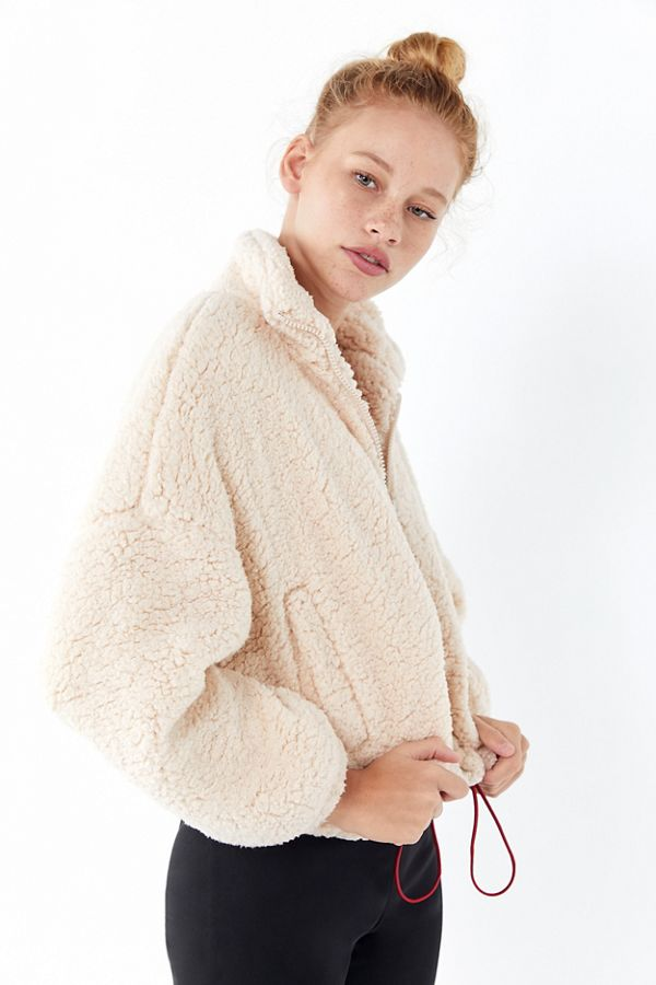 UO fuzzy drawstring teddy jacket