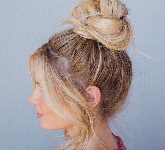 Hair How-To: An Effortless Top Knot Tutorial From Amber Fillerup Clark