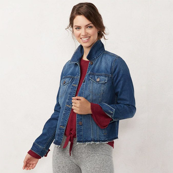 LC Lauren Conrad raw edge denim jacket