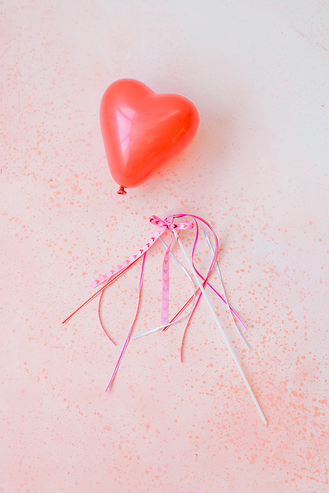 DIY heart balloon wand