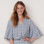 LC Lauren Conrad Flare-Sleeve Button-Down Top