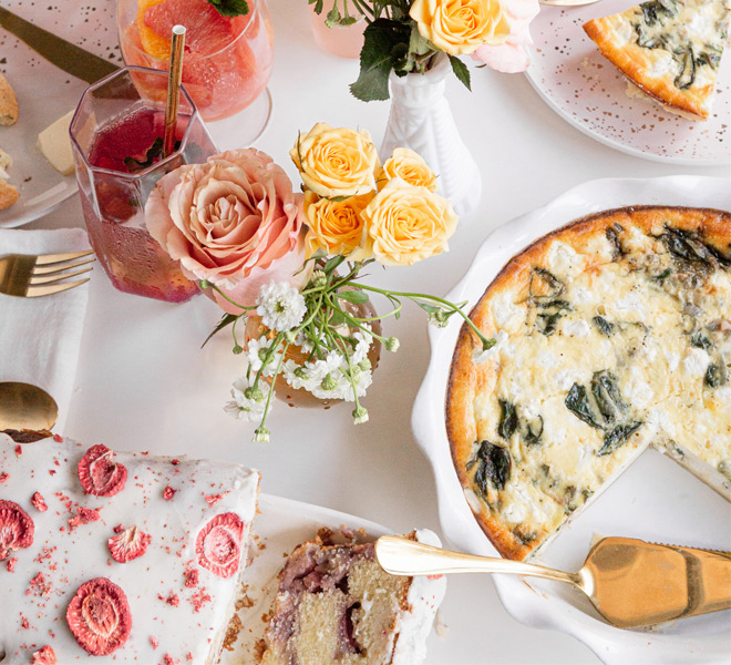 A Mother's Day Spread With Strawberry Muffin Loaf, Shallot and Spinach Goat Cheese Quiche, and Rosé Sangria