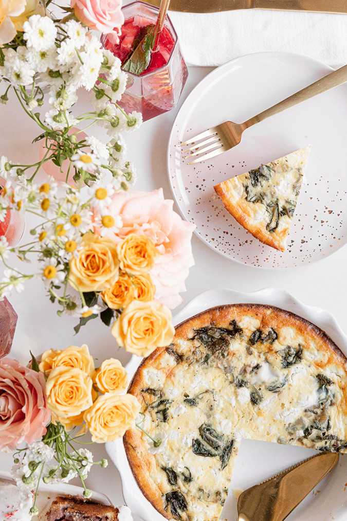 A Mother's Day Spread With Strawberry Muffin Loaf, Shallot and Spinach Goat Cheese Quiche, and Rose Sangria
