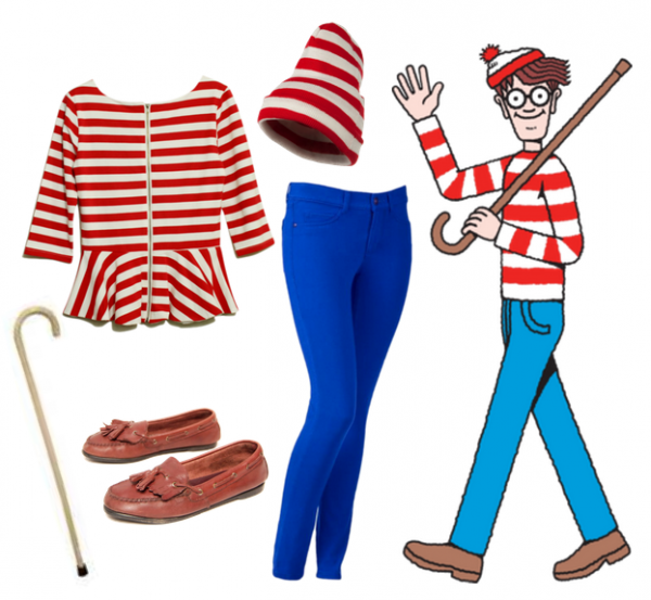 wheres waldo girl costume diy. Black Bedroom Furniture Sets. Home Design Ideas