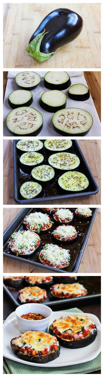 Julia Child's eggplant pizzas via Kalyn's Kitchen