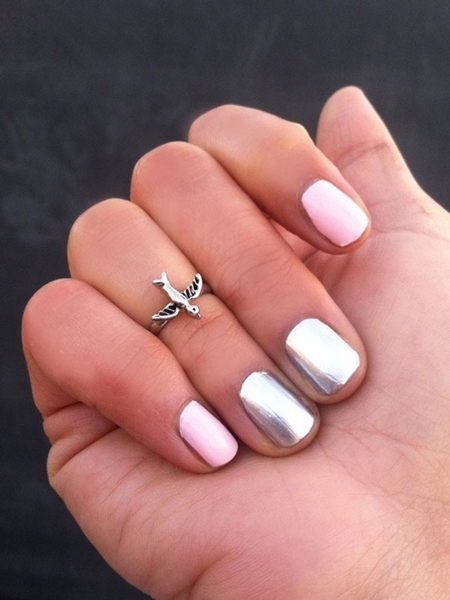 pink and metallic manicure